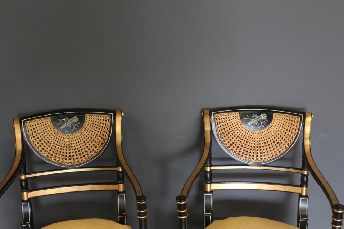 Pair of Regency Caned, Ebonised & Gilt Decorated - 2