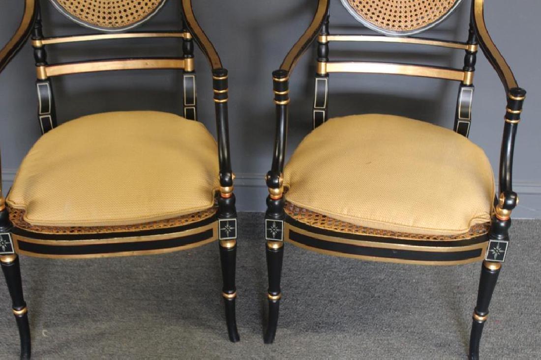 Pair of Regency Caned, Ebonised & Gilt Decorated - 3