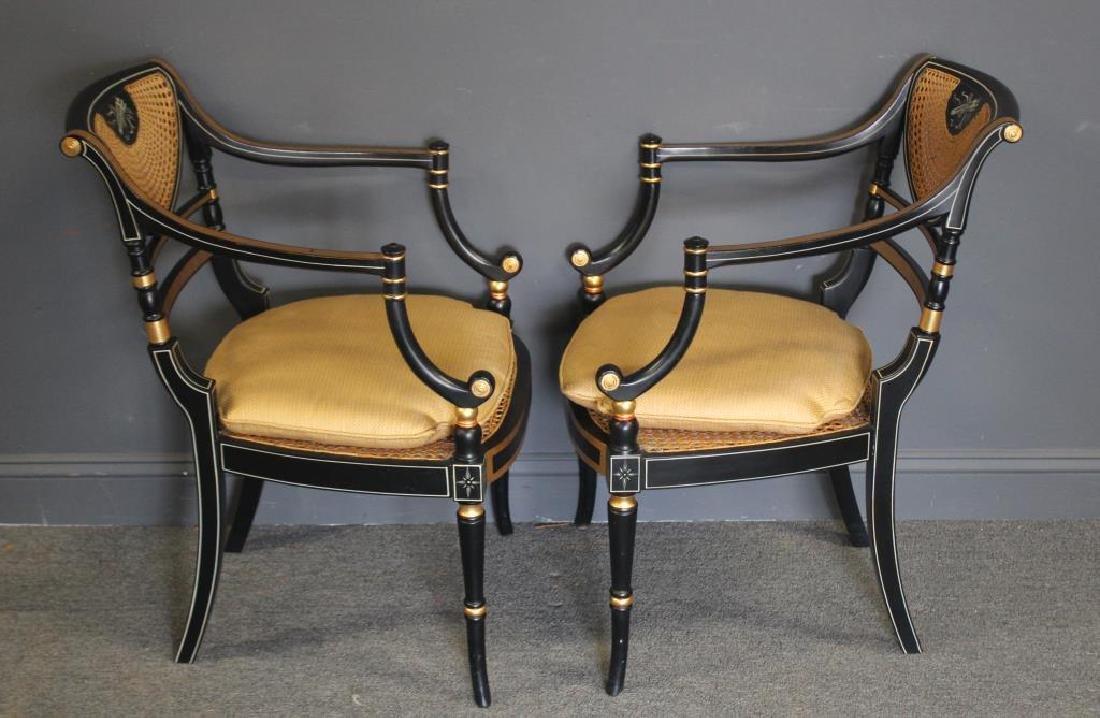 Pair of Regency Caned, Ebonised & Gilt Decorated - 4