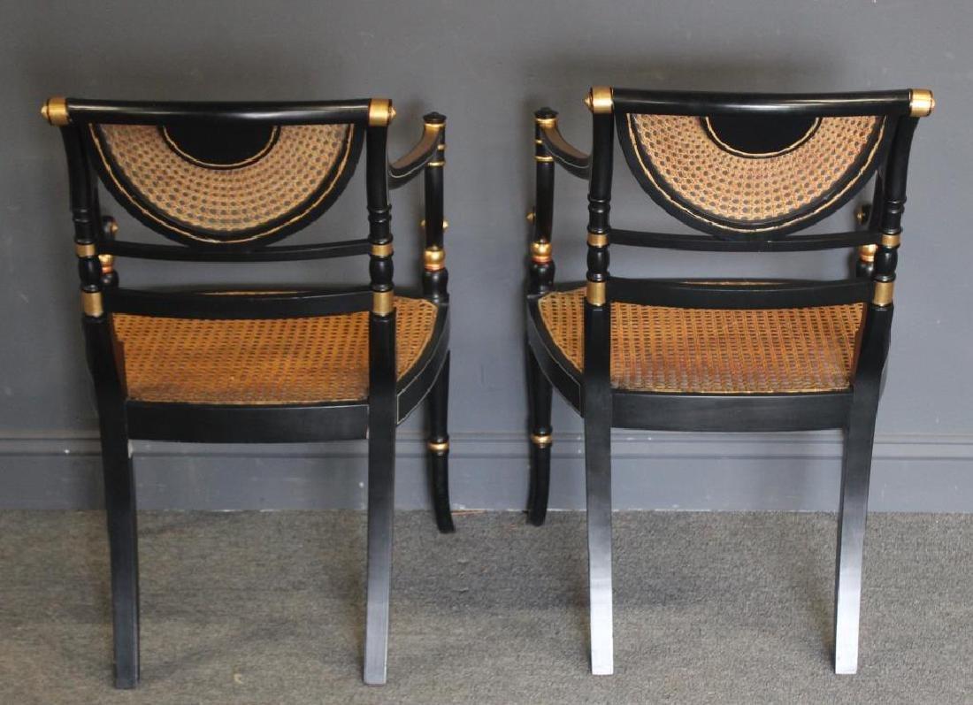 Pair of Regency Caned, Ebonised & Gilt Decorated - 5