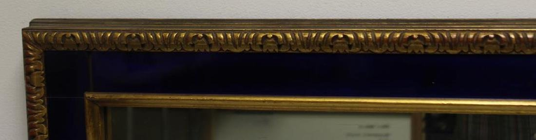 Art Deco Gilt Mirror with Cobalt Trim. - 2