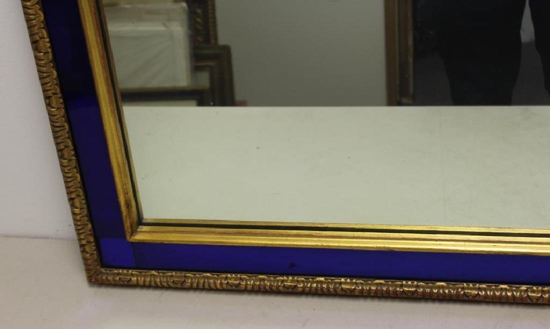 Art Deco Gilt Mirror with Cobalt Trim. - 3