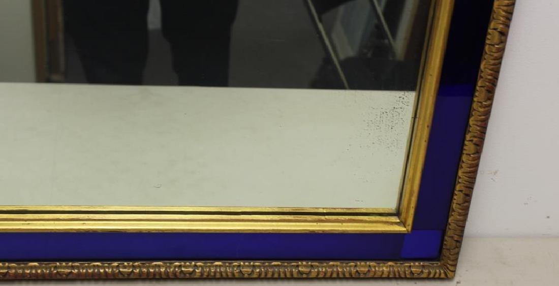 Art Deco Gilt Mirror with Cobalt Trim. - 4