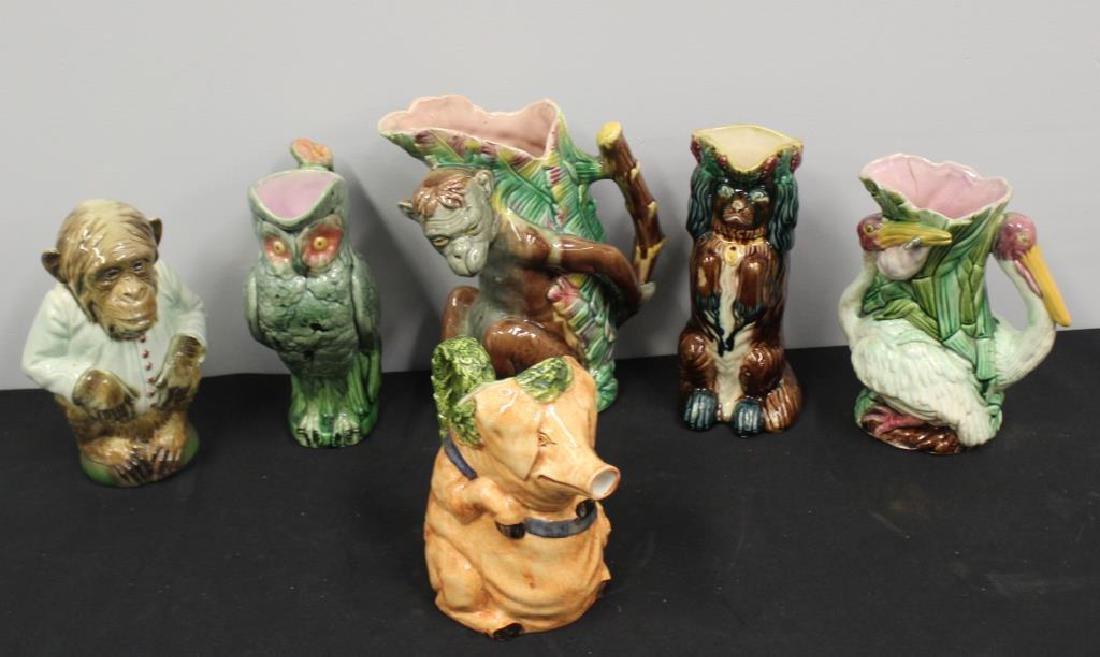 Lot of Antique Majolica Porcelain Jugs.