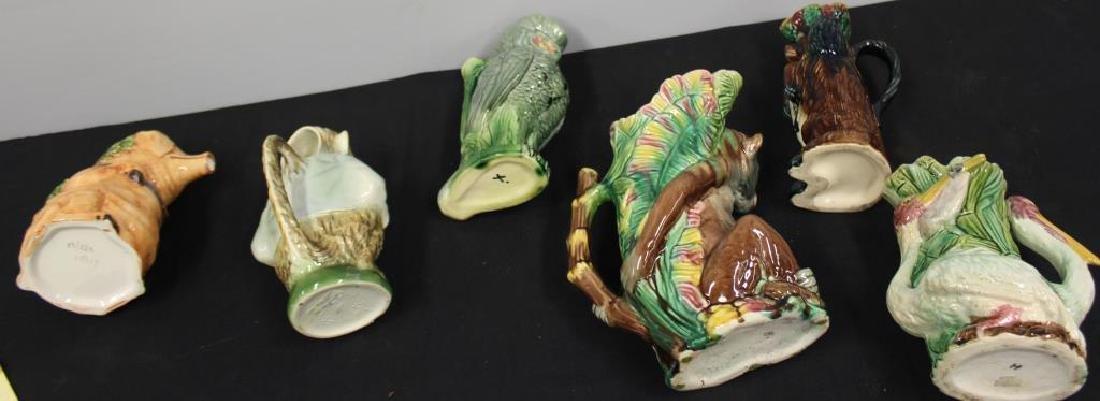 Lot of Antique Majolica Porcelain Jugs. - 9