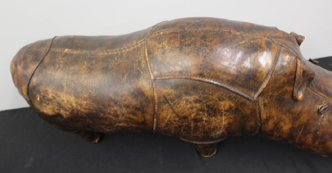 Vintage Brown Leather Rhino Footstool. - 3