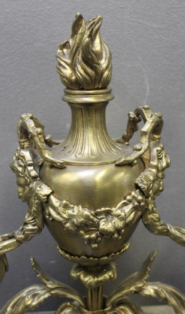 Pair of Gilt Bronze Urn Form Chenets. - 4