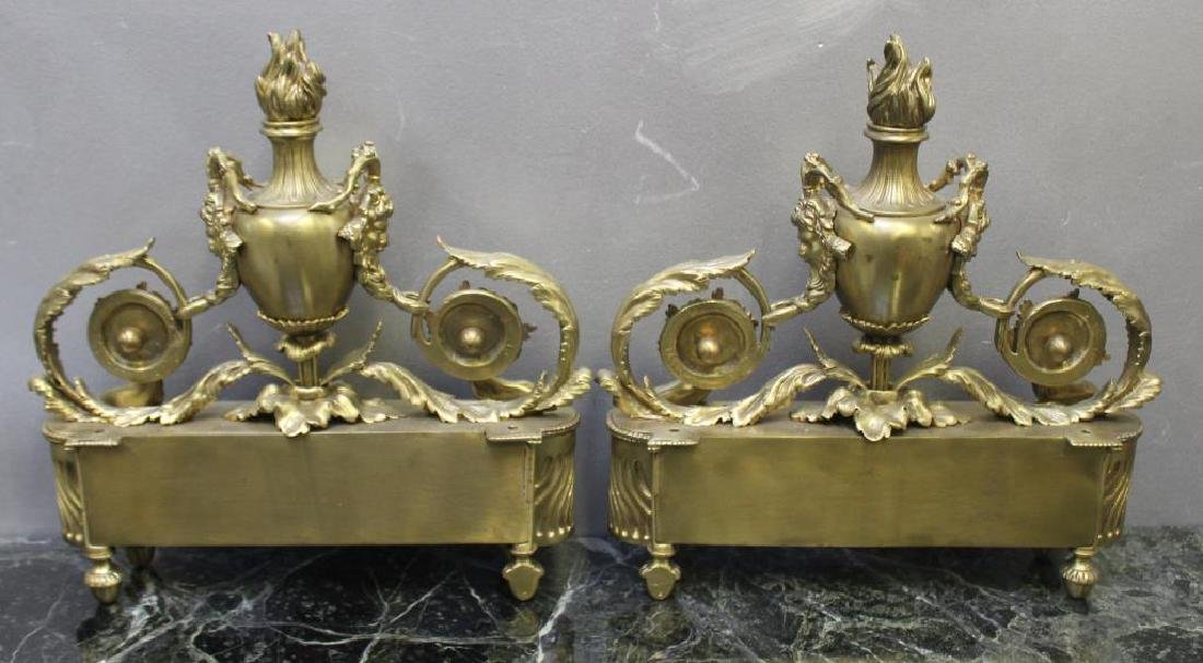 Pair of Gilt Bronze Urn Form Chenets. - 8