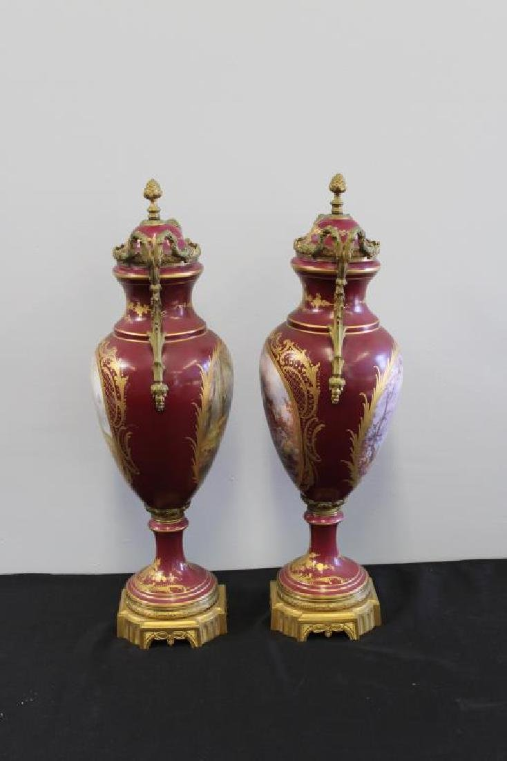 SEVRES. Pair of Bronze Mounted and Hand Painted - 2