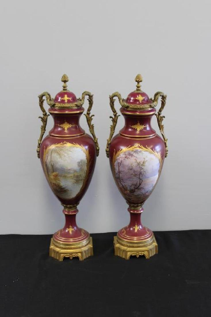 SEVRES. Pair of Bronze Mounted and Hand Painted - 3