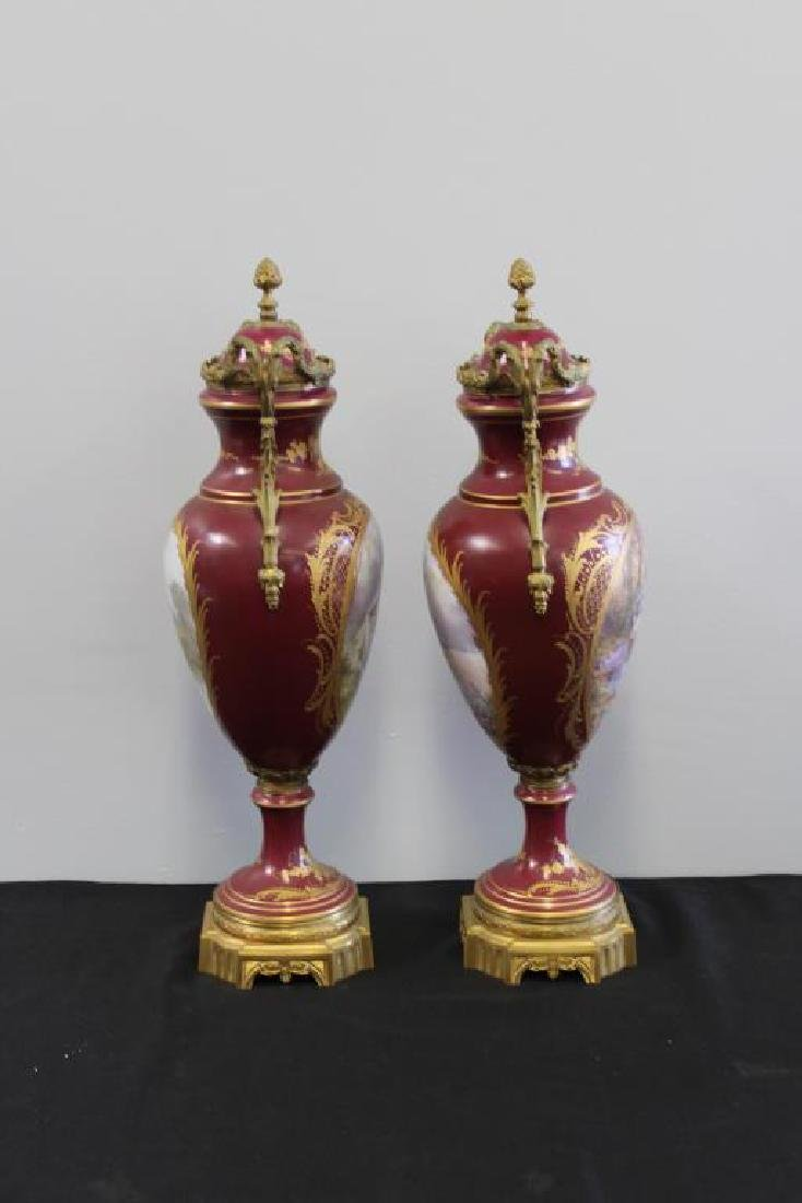 SEVRES. Pair of Bronze Mounted and Hand Painted - 4