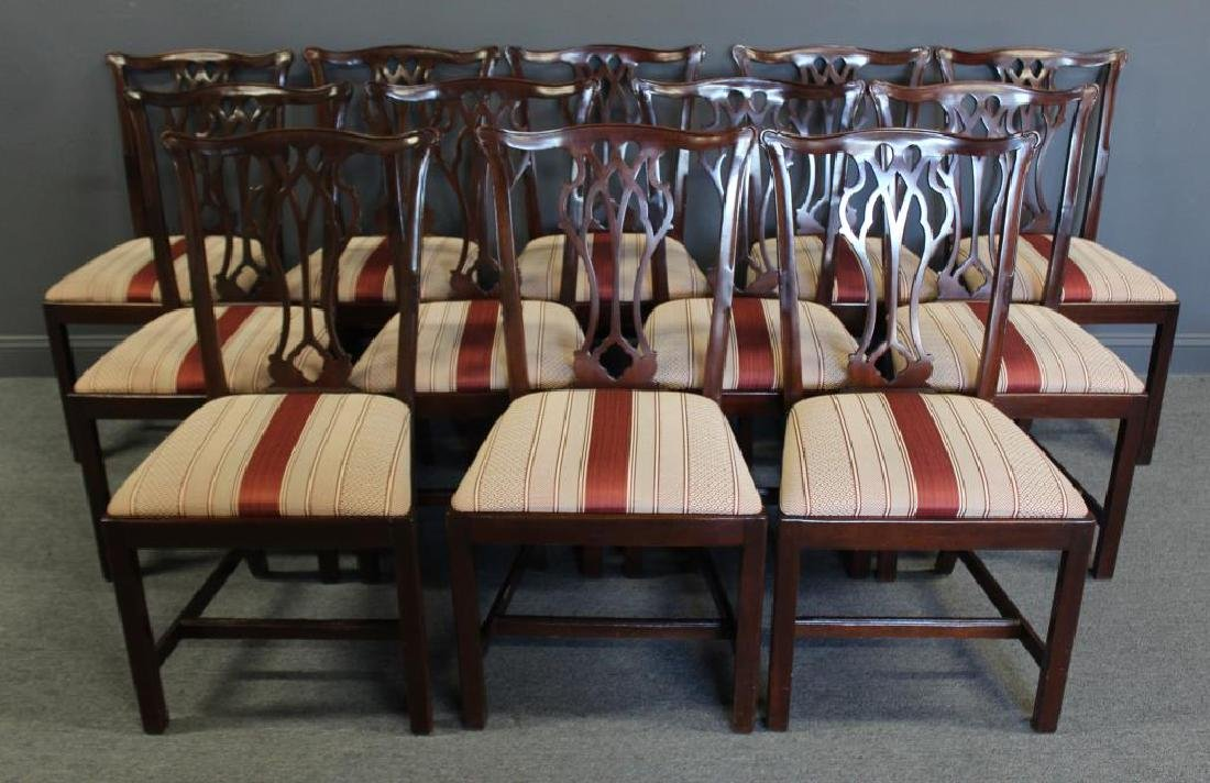 Set of 12 Mahogany Hepplewhite Style Chairs Signed