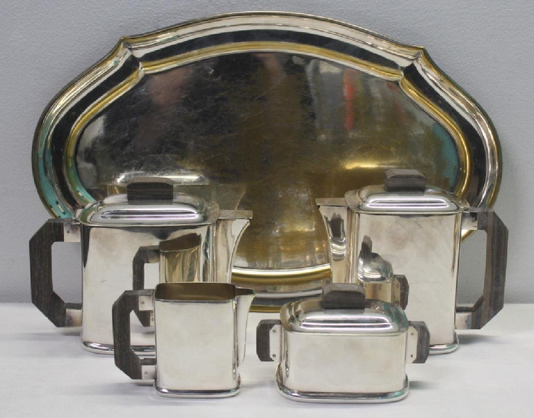 SILVER-PLATE. French Art Deco Ercuis Tea Service. - 2