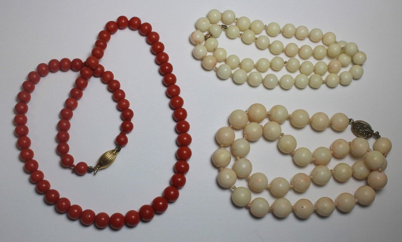 JEWELRY. Assorted Coral Necklace Grouping.