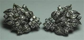 JEWELRY. Pair of Platinum and Diamond Floral Spray