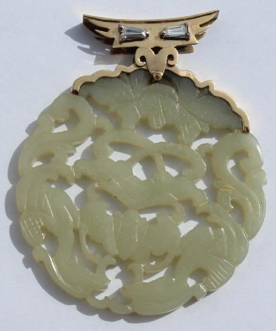 JEWELRY. 14kt Gold, Diamond, and Jade Pendant.