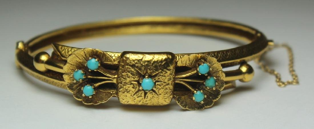 JEWELRY. Etruscan Revival 14kt Gold and Turquoise