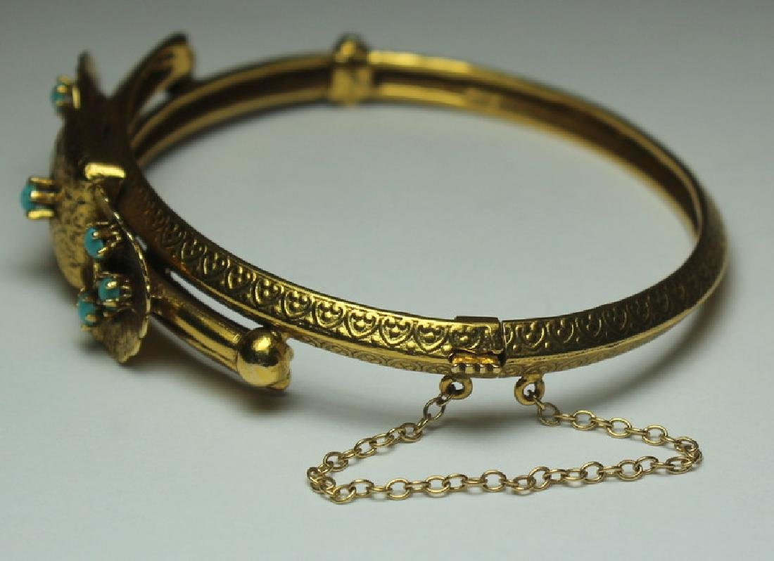 JEWELRY. Etruscan Revival 14kt Gold and Turquoise - 3