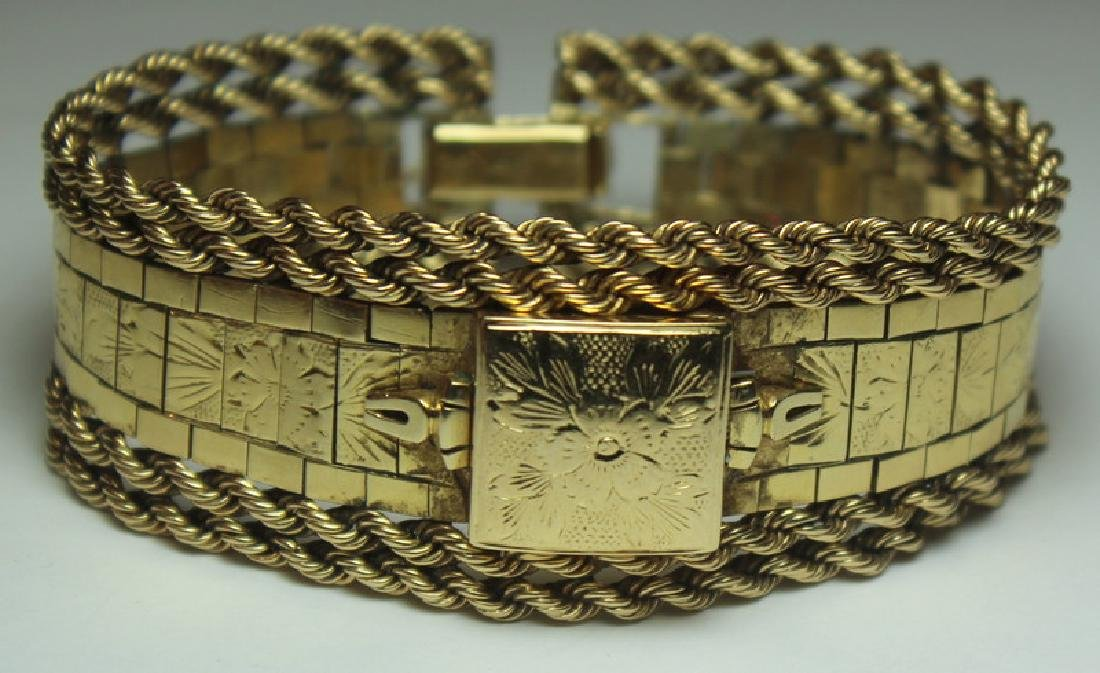 JEWELRY. Omega 14kt Gold Bracelet with Hidden