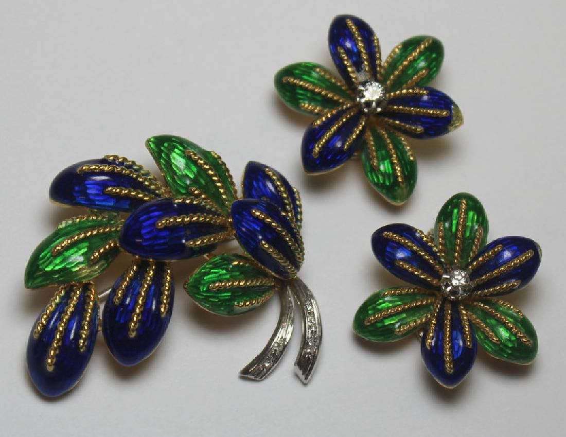 JEWELRY. 3 Pc. Italian 18kt Gold and Enamel Suite.