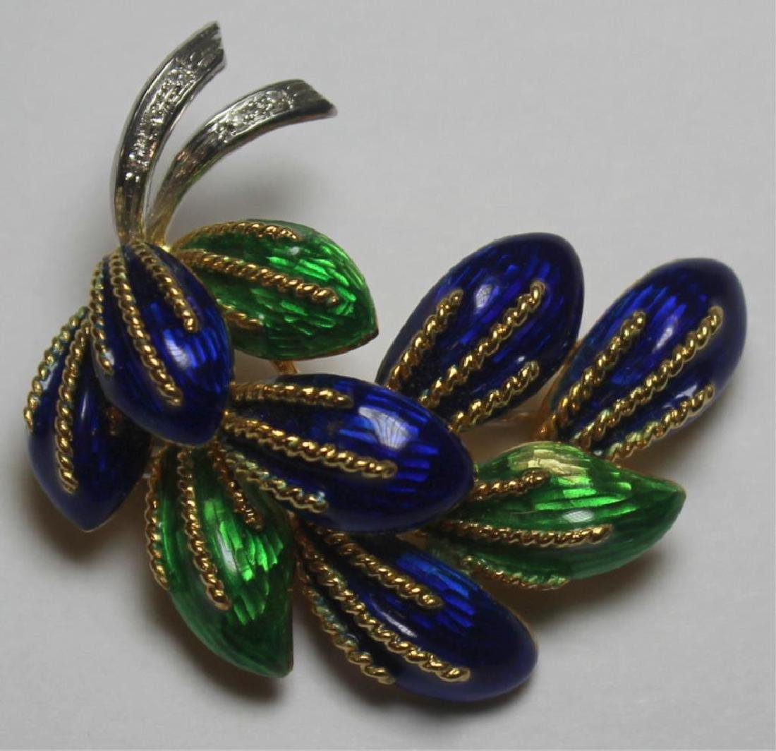 JEWELRY. 3 Pc. Italian 18kt Gold and Enamel Suite. - 3