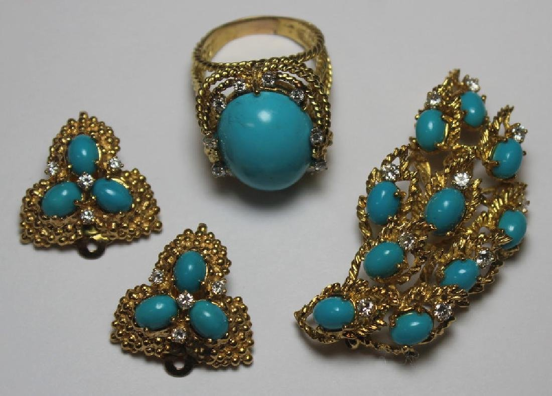 JEWELRY. Turquoise and Diamond Jewelry Suite.