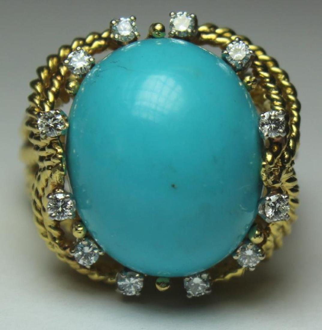 JEWELRY. Turquoise and Diamond Jewelry Suite. - 2