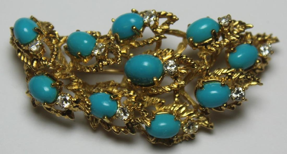 JEWELRY. Turquoise and Diamond Jewelry Suite. - 3
