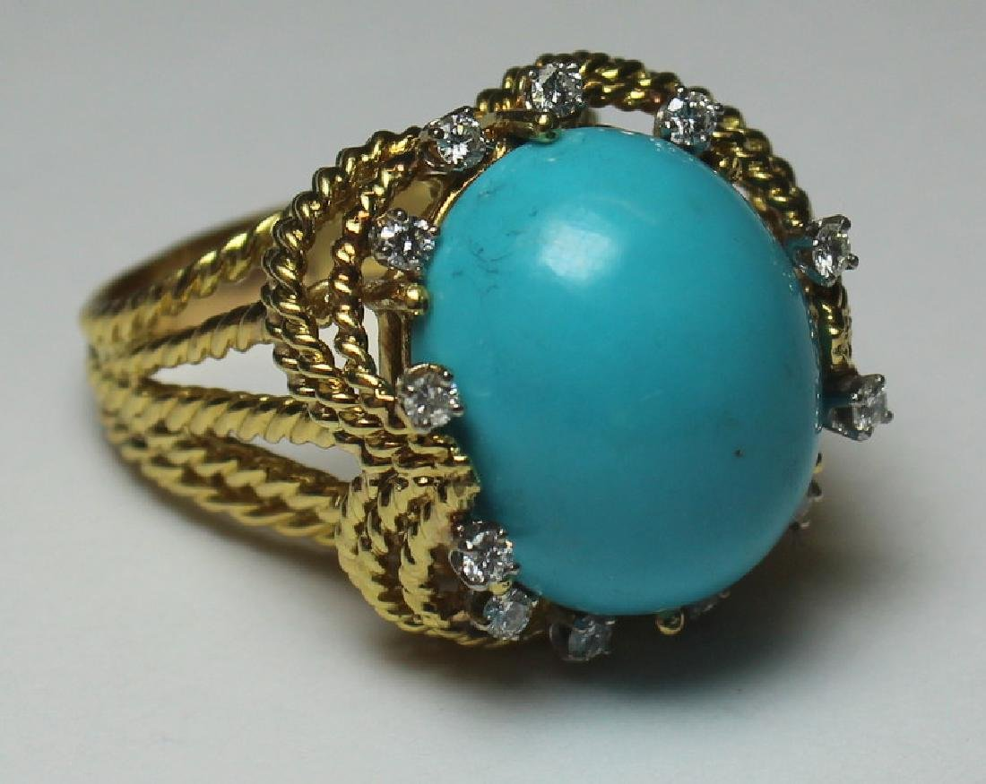 JEWELRY. Turquoise and Diamond Jewelry Suite. - 5