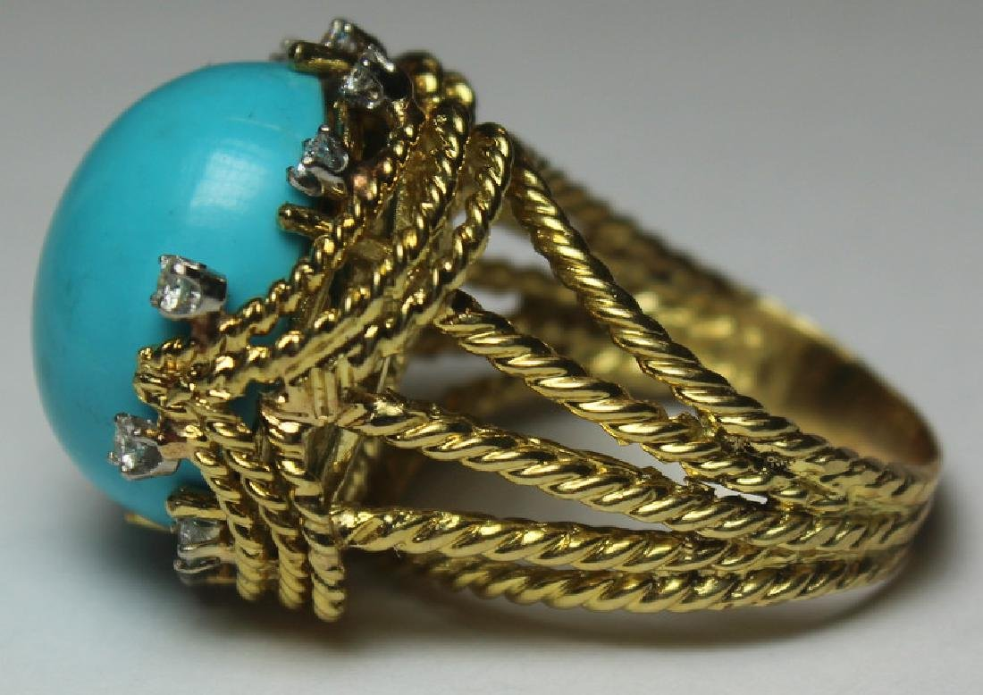 JEWELRY. Turquoise and Diamond Jewelry Suite. - 6