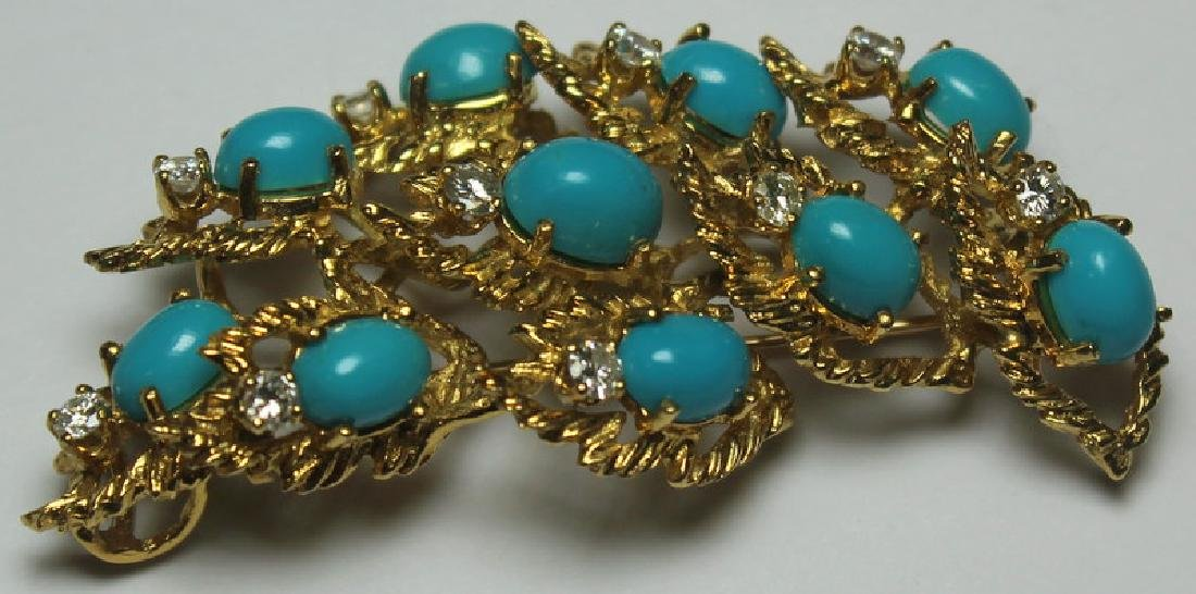 JEWELRY. Turquoise and Diamond Jewelry Suite. - 9