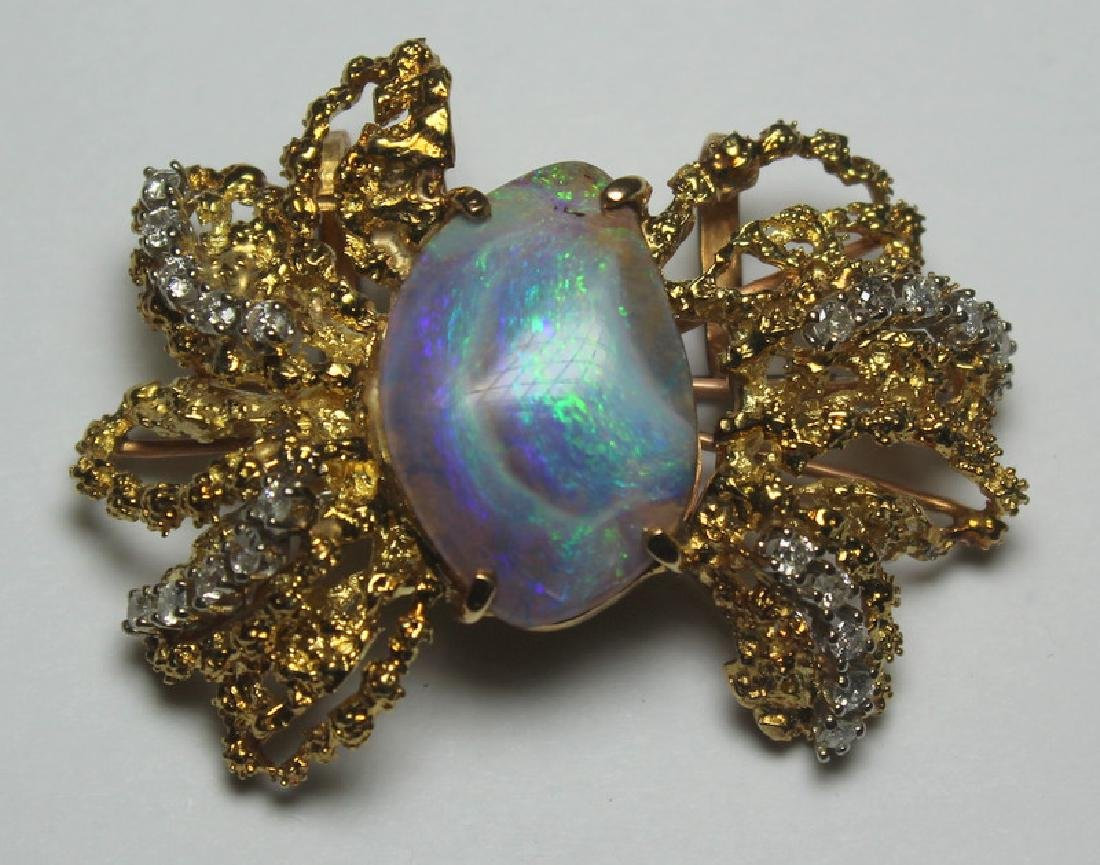 JEWELRY. 14kt Gold, Opal, and Diamond Suite. - 2