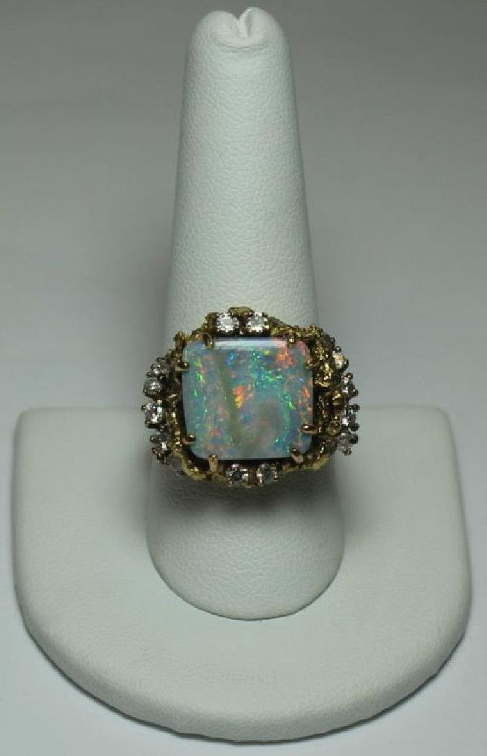 JEWELRY. 14kt Gold, Opal, and Diamond Suite. - 4