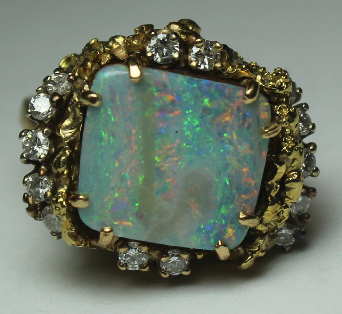 JEWELRY. 14kt Gold, Opal, and Diamond Suite. - 5