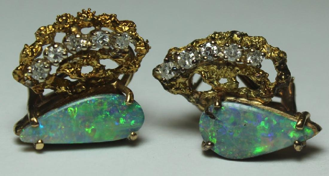 JEWELRY. 14kt Gold, Opal, and Diamond Suite. - 8