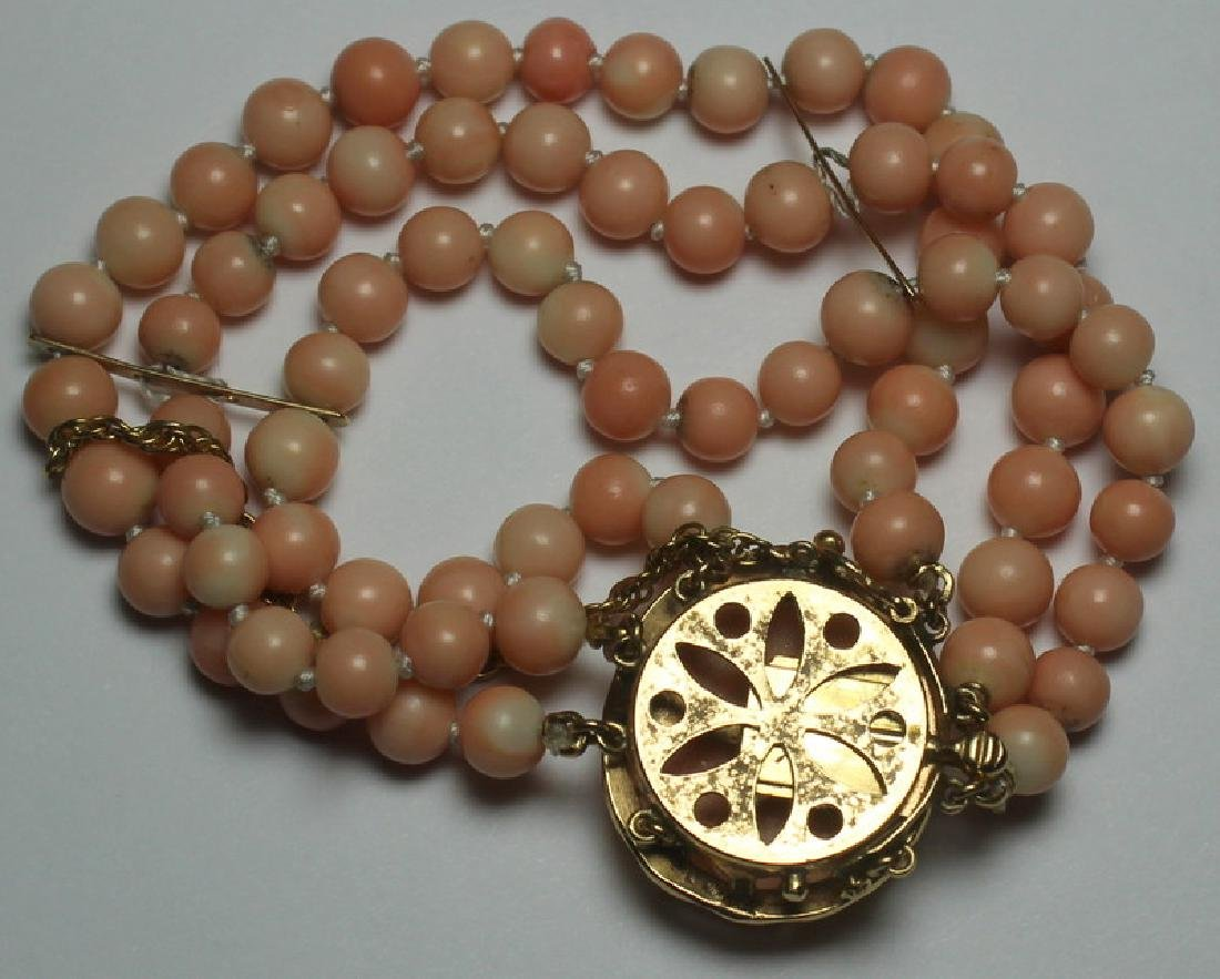 JEWELRY. 14kt Gold and Angel Skin Coral Suite. - 10