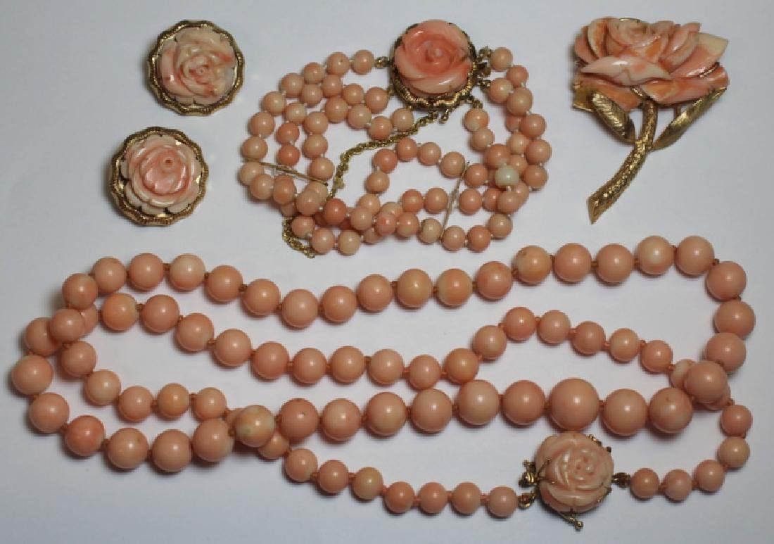 JEWELRY. 14kt Gold and Angel Skin Coral Suite.