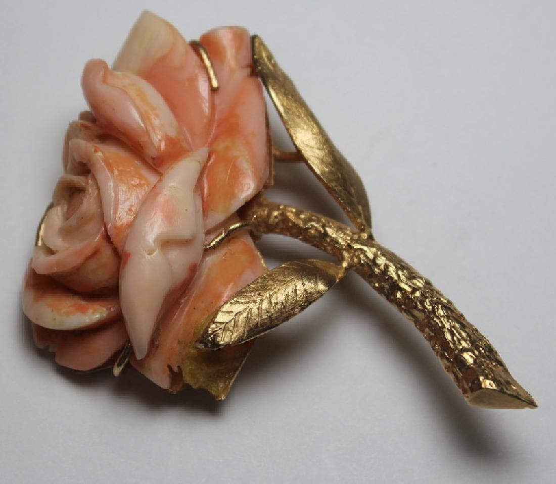 JEWELRY. 14kt Gold and Angel Skin Coral Suite. - 2