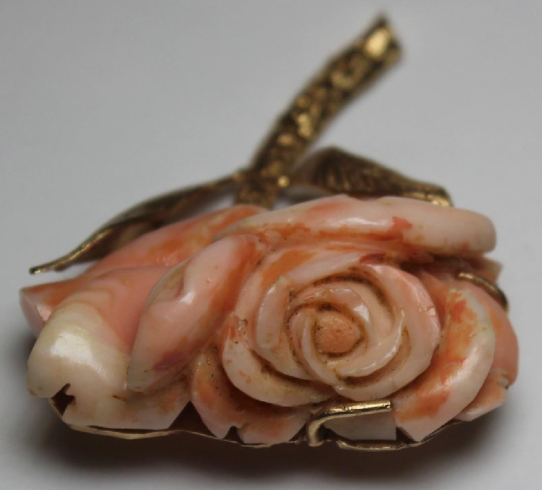 JEWELRY. 14kt Gold and Angel Skin Coral Suite. - 3