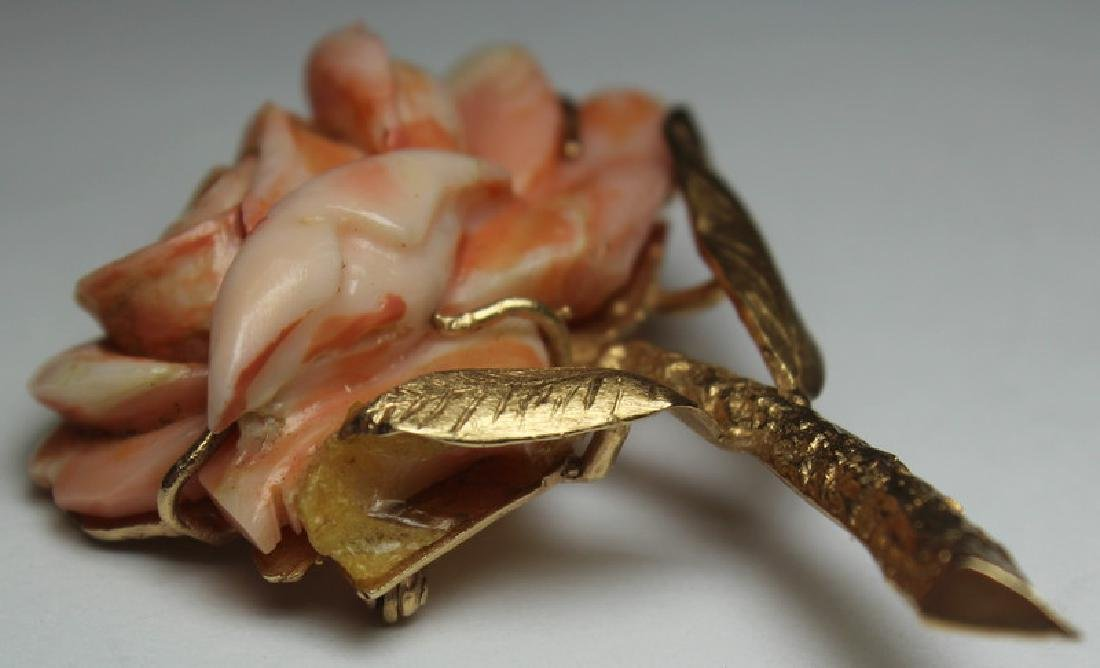 JEWELRY. 14kt Gold and Angel Skin Coral Suite. - 4