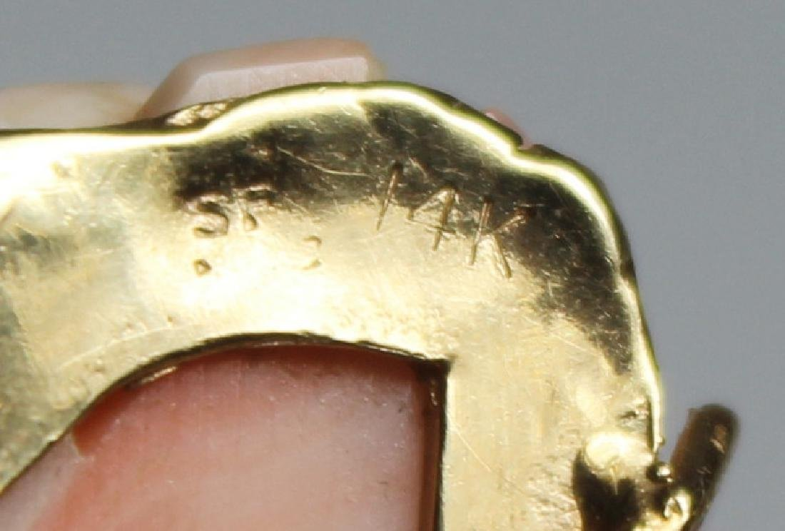 JEWELRY. 14kt Gold and Angel Skin Coral Suite. - 6