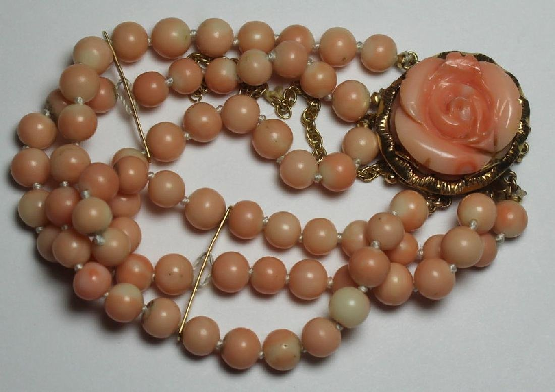 JEWELRY. 14kt Gold and Angel Skin Coral Suite. - 9