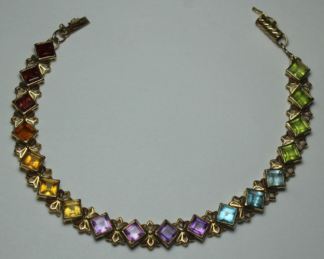 JEWELRY. 14kt Gold and Colored Gem Suite. - 5
