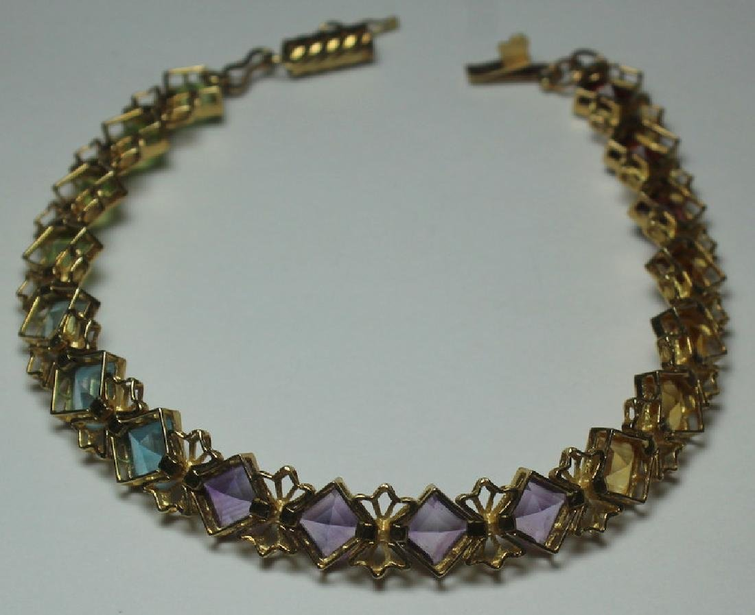 JEWELRY. 14kt Gold and Colored Gem Suite. - 7