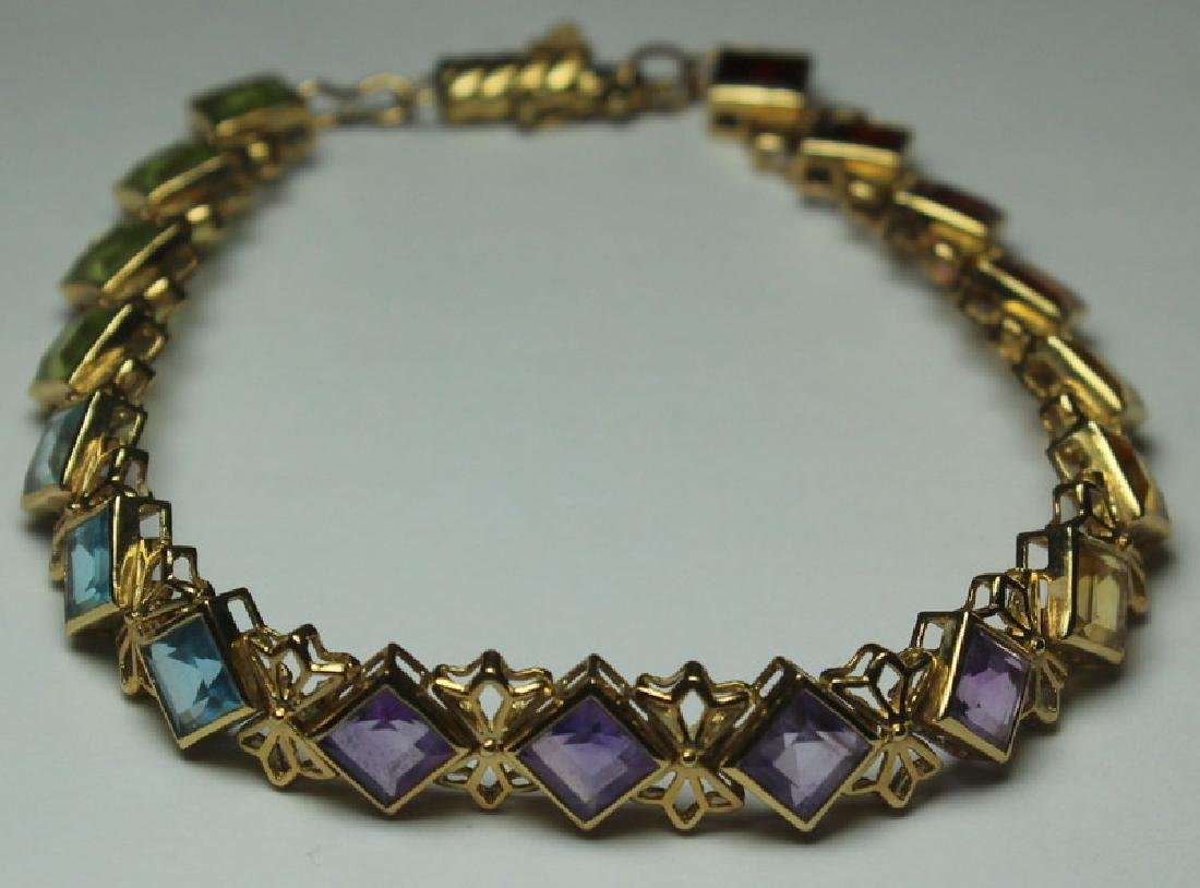 JEWELRY. 14kt Gold and Colored Gem Suite. - 9