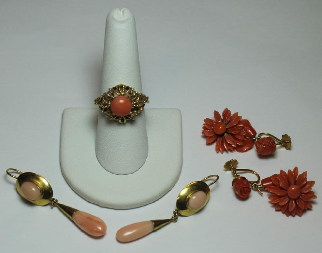 JEWELRY. Assorted Gold and Coral Jewelry.