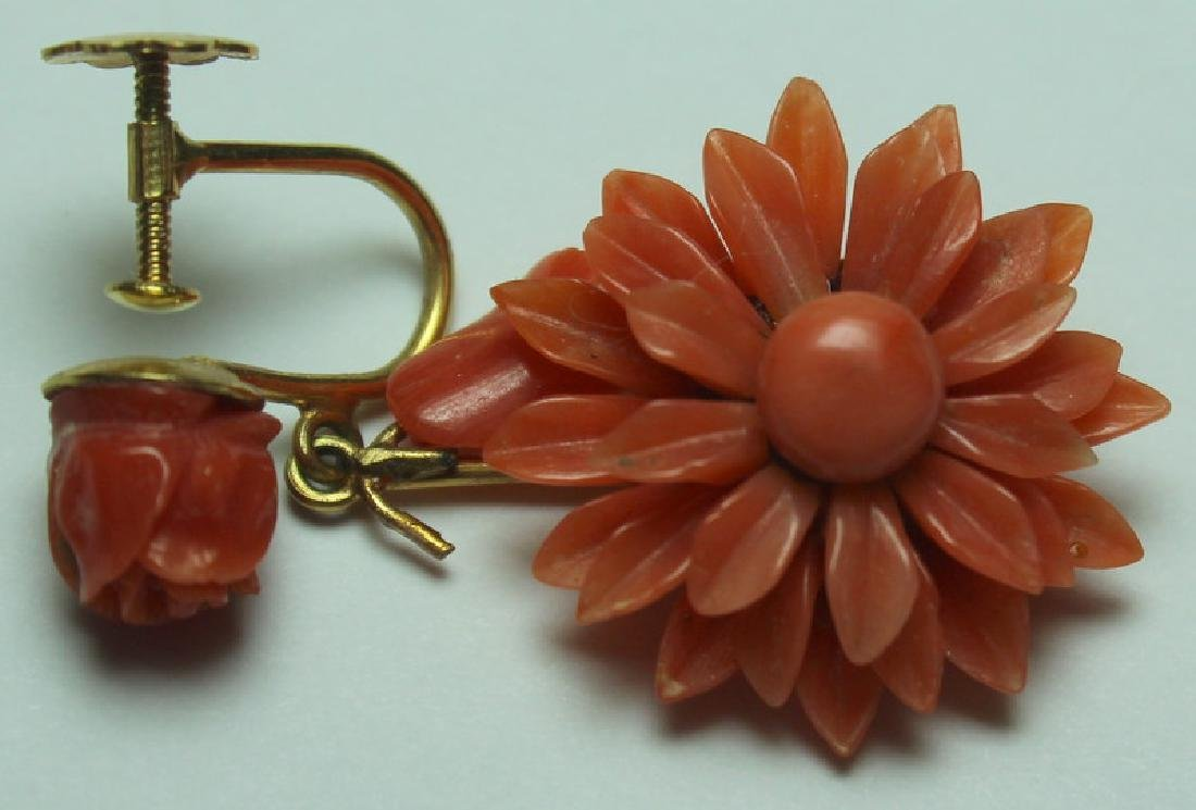 JEWELRY. Assorted Gold and Coral Jewelry. - 6