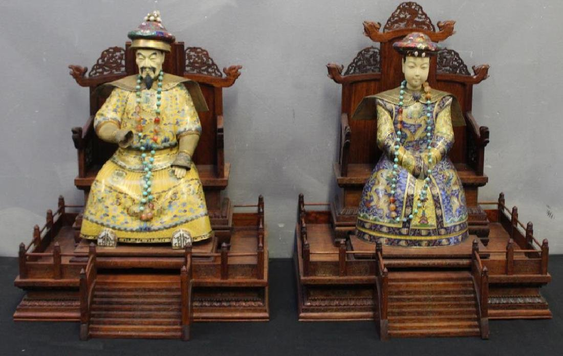 2 Antique Champleve Chinese Ancestoral Sculptures