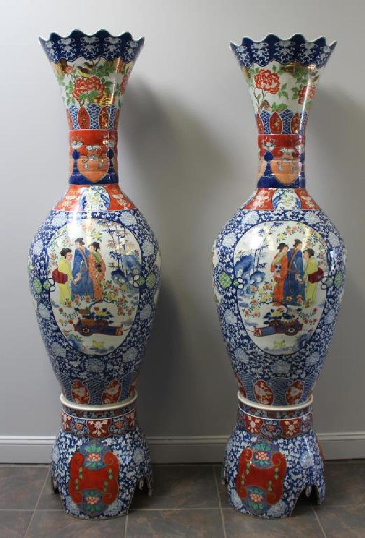 Pair Of Fine Quality Palace Size Enamel Decorated