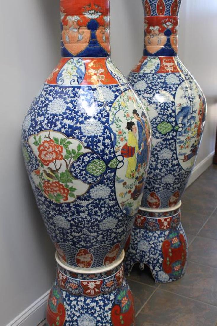 Pair Of Fine Quality Palace Size Enamel Decorated - 2